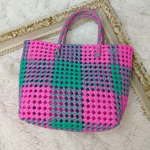 Vintage 1980s Bright Pink Woven Jelly Purse Tote